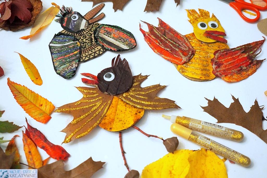 kreatywne zabawy dla dzieci na jesienne dni, ptaki z liści, patyków i kartonu, praca przestrzenna.