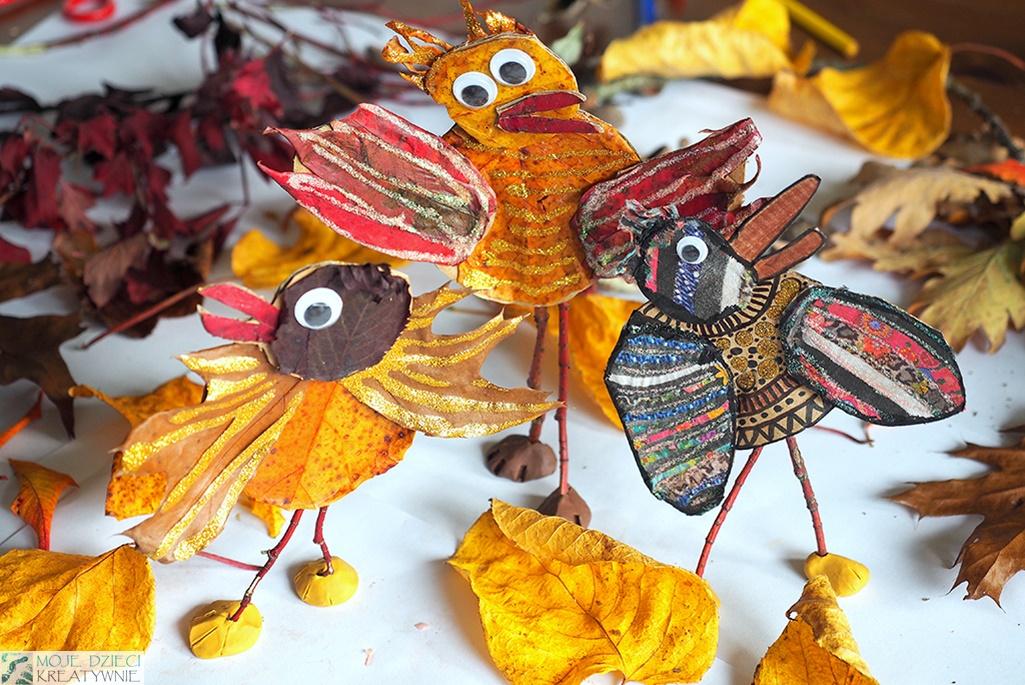 co można zrobić z darów jesieni, ptaki z liści praca przestrzenna na zajęcia plastyczne dla dzieci.