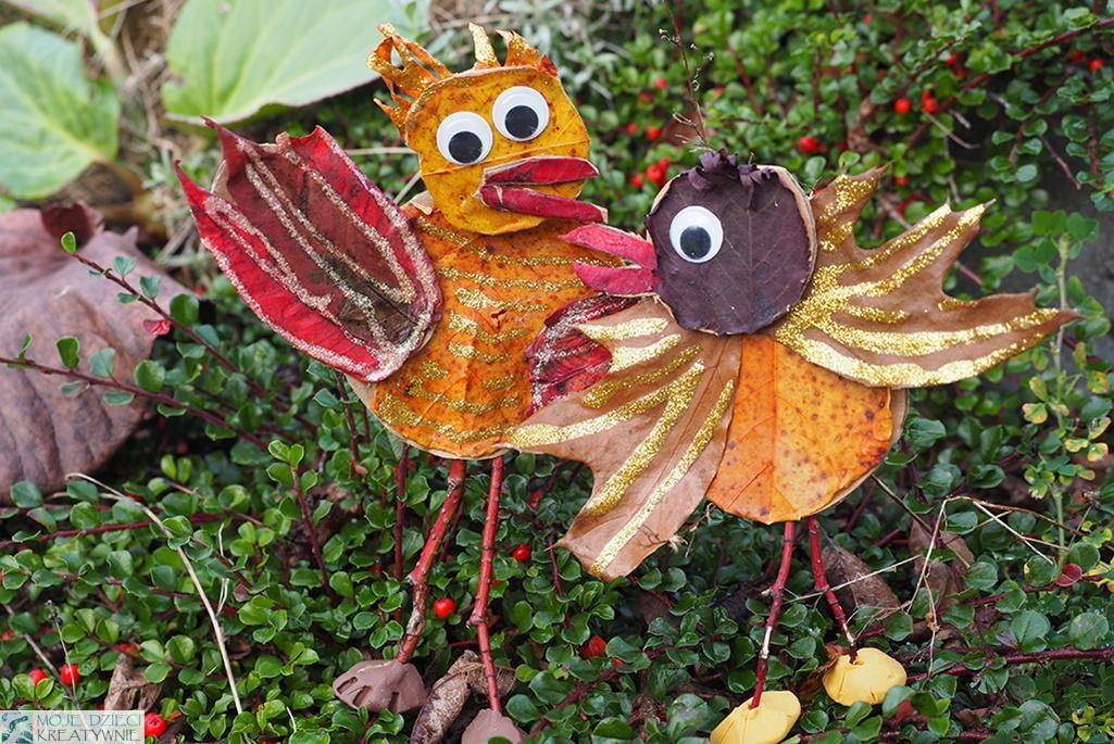 prace plastyczne jesień, ciekawe prace plastyczne z liści, jesienne prace plastyczne ptaki