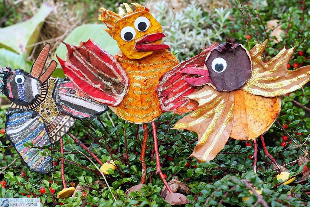 Ptaki Cudaki z liści, prace plastyczne jesień, praca plastyczna ptaki, przestrzenne prace plastyczne