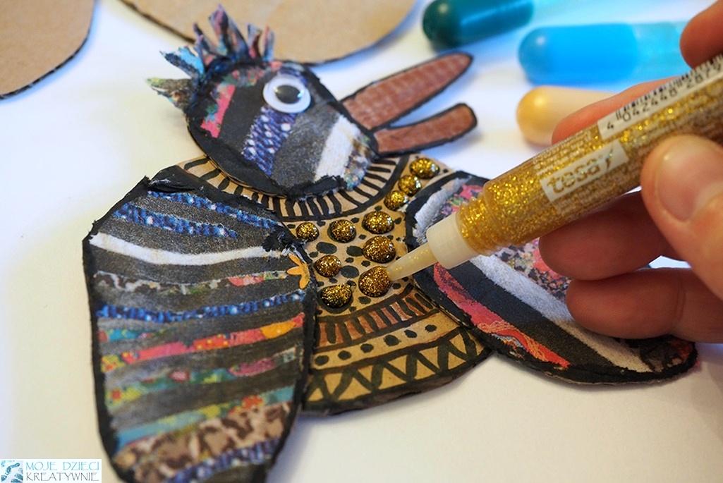 dekorowanie brokatem, praca plastyczna ptak 3D z papieru