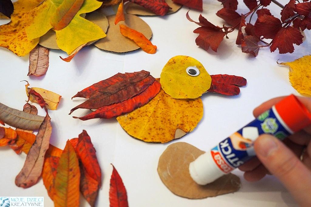 prace plastyczne z liści, ptak z liści i papieru, ciekawe prace plastyczne na jesień, kreatywnie w przedszkolu.