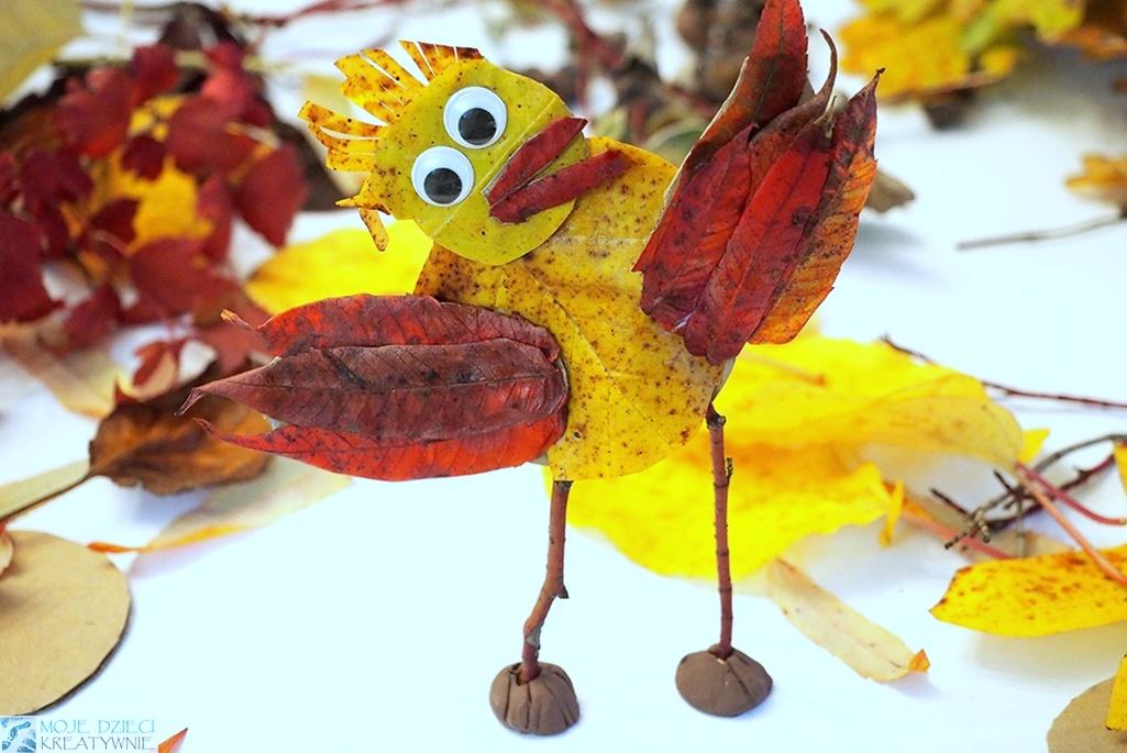 jesienne prace plastyczne, co można zrobić z liści, dary jesieni, ptak z liści, patyków i papieru.