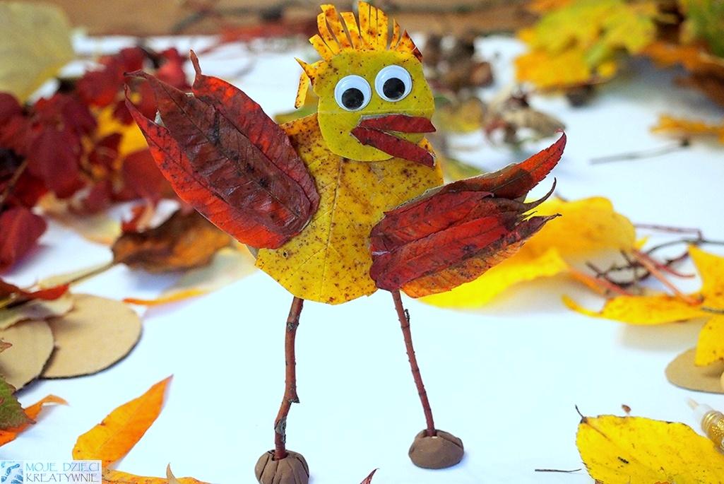 moje dzieci kreatywnie jesień, ciekawe prace plastyczne z liści, pomysły na jesienne zajęcia plastyczne.