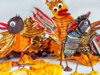 ptaki cudaki jesienna prca plastyczna z liści, kartonu, patyków i plasteliny/