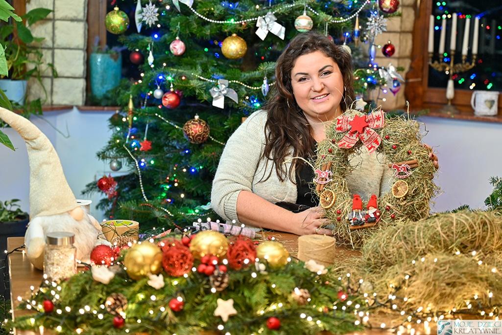 ewa wojtan, moje dzieci kreatywnie, wieniec bożonarodzeniowy, wianek świąteczny na drzwi, wieniec świateczny jak zrobić