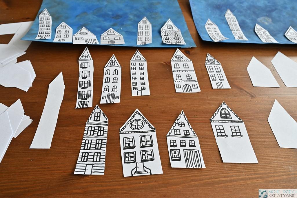 miasteczko praca plastyczna, domki, kreatywne prace plastyczne dla dzieci