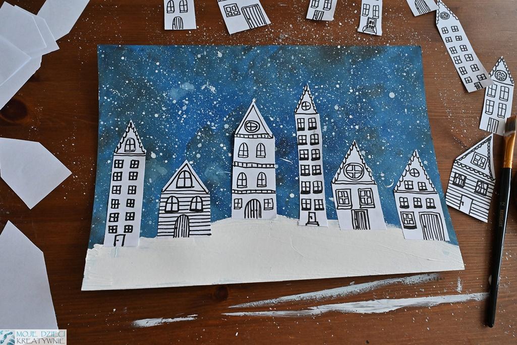 ciekawe pomysły na prace plastyczne zima, zimowe miasteczko, domki w śniegu, moje dzieci kreatywnie
