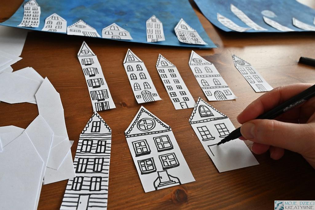 domki z papieru, papierowe domki, ciekawe prace plastyczne, moje dzieci kreatywnie