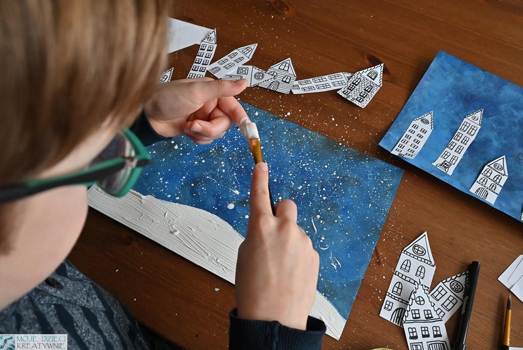 prace plastyczne zima, zimowe prace plastyczne, śnieg, zimowe miasteczko, malowanie śniegu