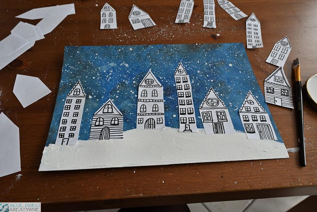Zimowe miasteczko, praca plastyczna zima
