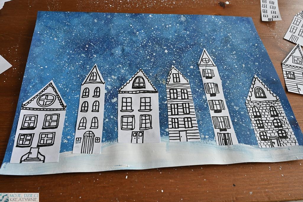 pomysły na zimowe prace plastyczne, prace plastyczne zima, zimowe miasteczko