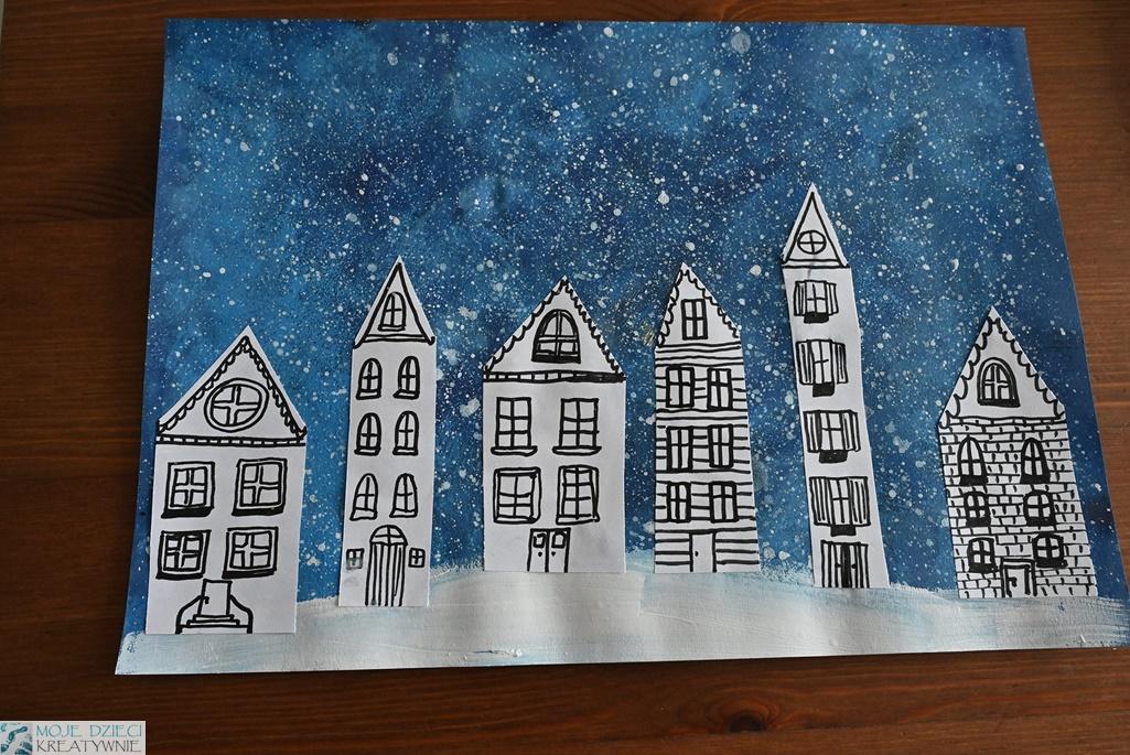 moje dzieci kreatywnie prace plastyczne, zimowe miasteczko, prace plastyczne zima