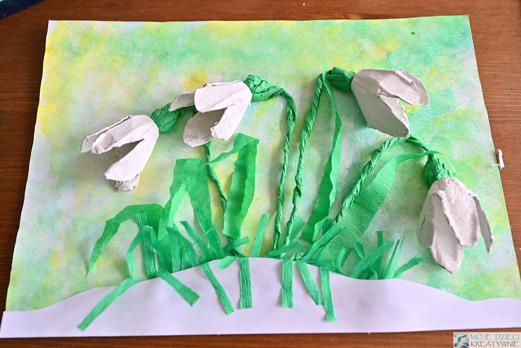 przebiśniegi praca plastyczna, prace plastyczne wiosna, kwiaty z wytłaczanek