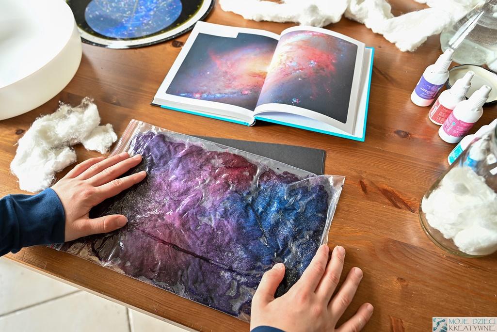 kosmos praca plastyczna, galaktyka, kosmos dla dzieci