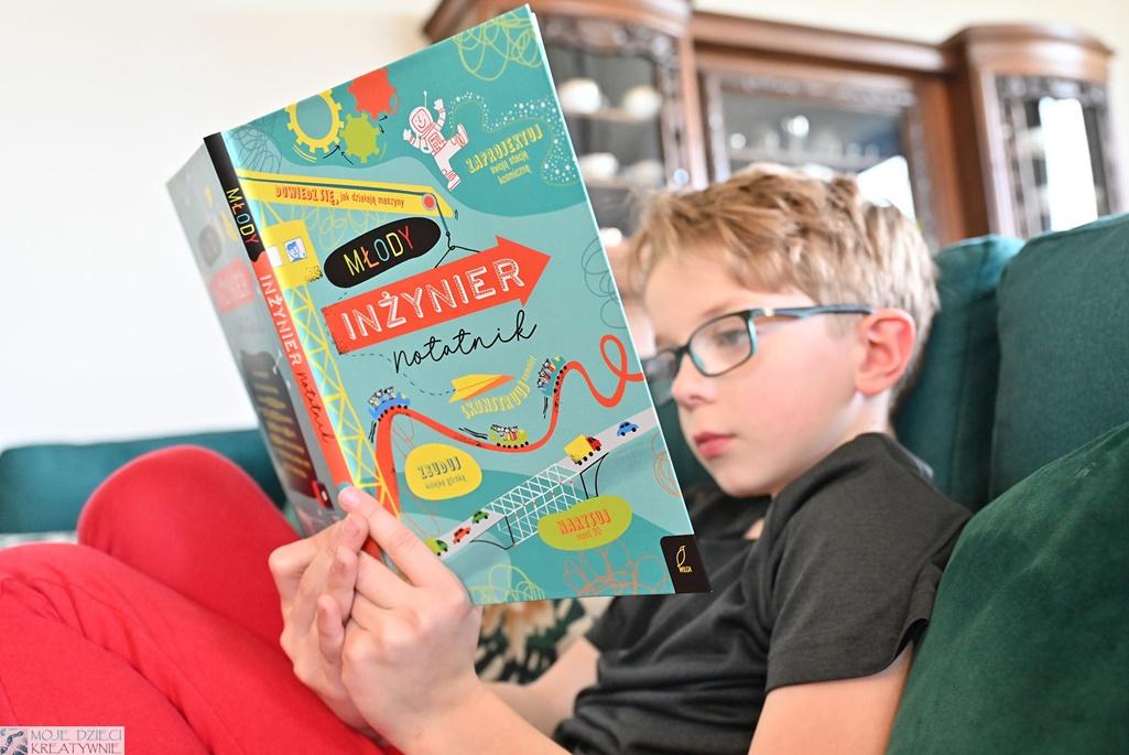 młody inżynier, notatnik, książka dla dzieci, edukacja przez zabawę, recenzje książek dla dzieci