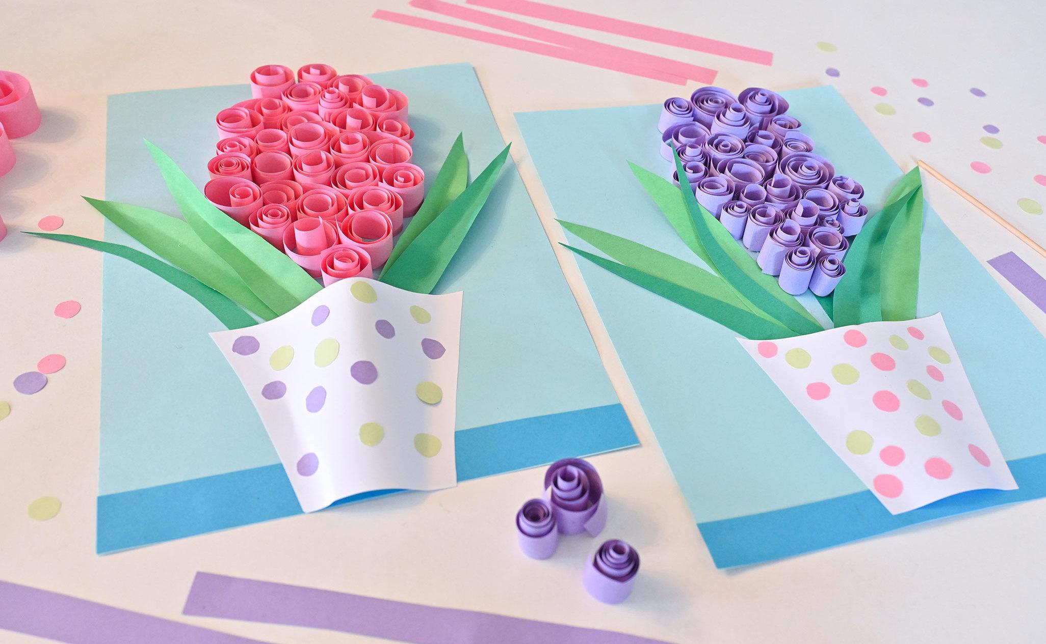 praca plastyczna wiosna, hiacynty z papieru, laurka dla mamy