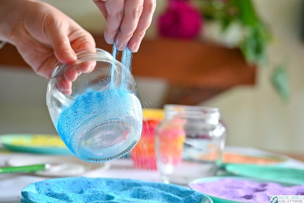kolorowa sól, jak zabarwić sól, ciekawe praec plastyczne