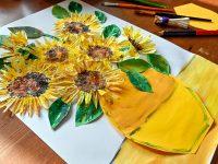 słoneczniki z papilotek, słoneczniki van gogha praca plastyczna