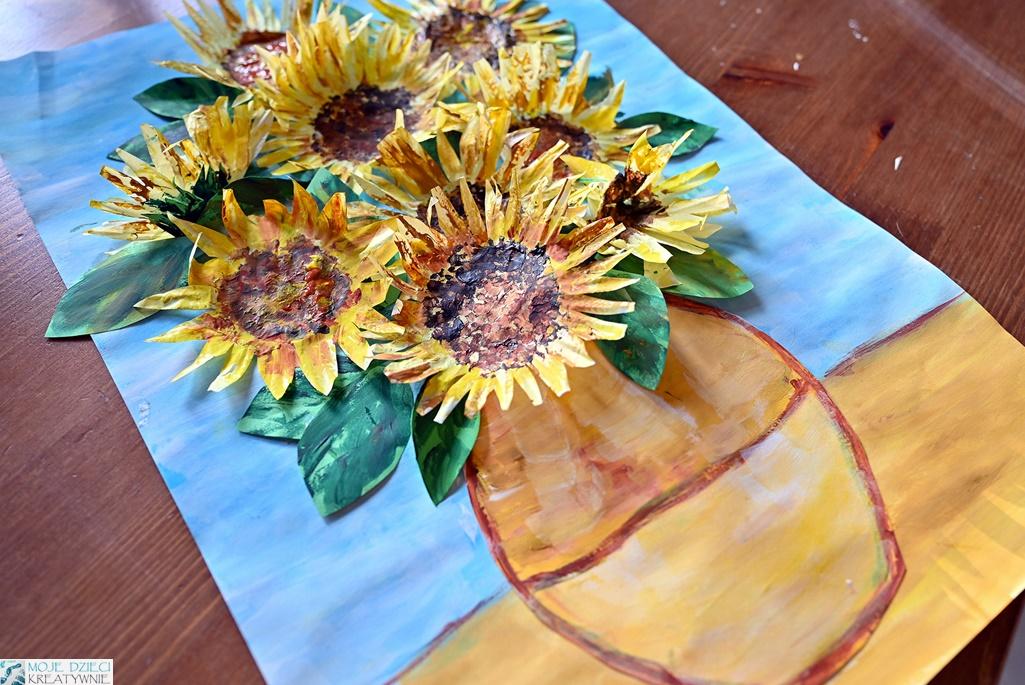 słoneczniki laurka dla mamy, kwitay z papieru. moje dzieci kreatywnie