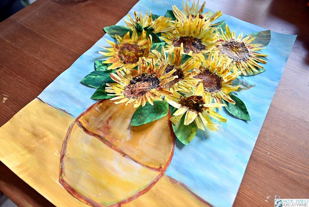 słoneczniki prace plastyczna, kwiaty prace plastyczne, laurka na dzień mamy, pomysły na laurki na dzień mamy