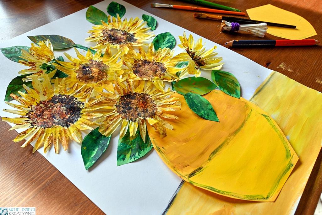 praca plastyczna słoneczniki, jak namlować słoneczniki, ciekawe prace plastyczne z papieru, słoneczniki z papilotek