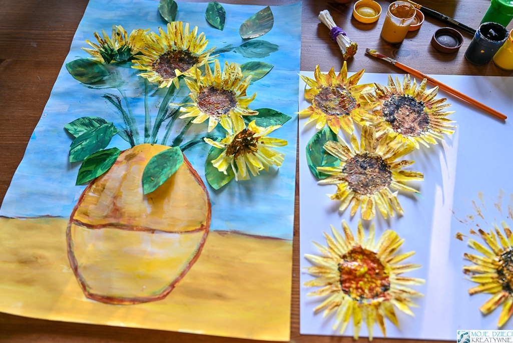 słoneczniki parac plastyczna, jak namlować słonecznik, słonecznik z papieru, moje dzieci kreatywnie