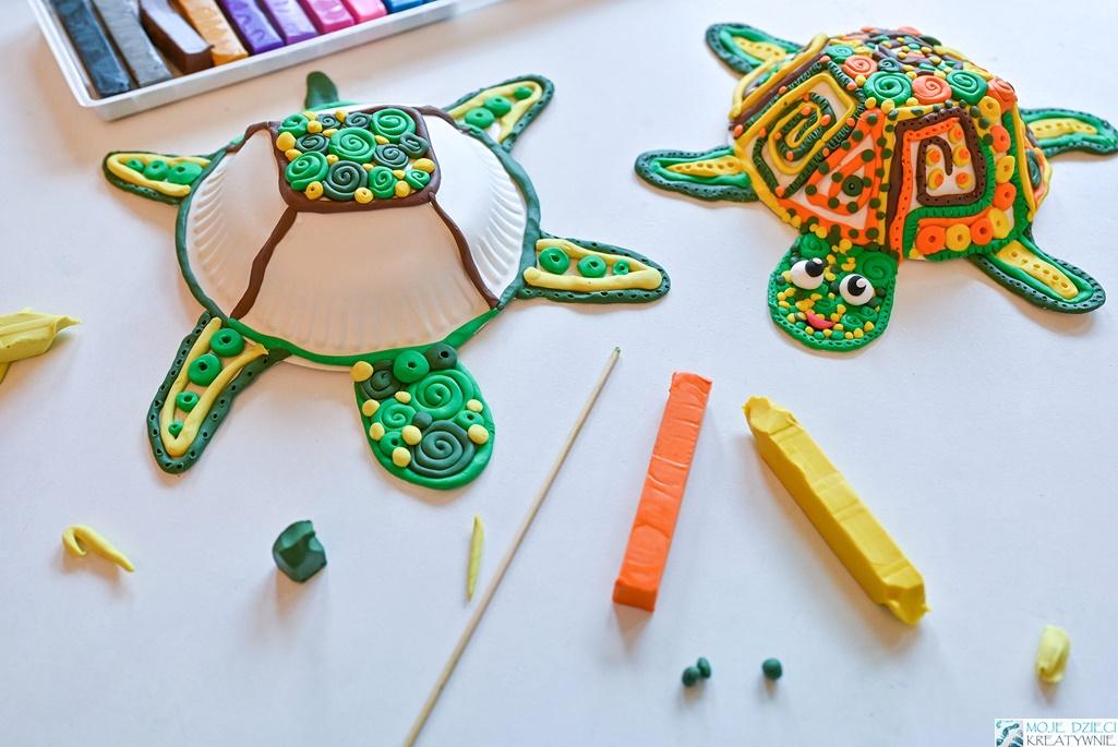 moje dzieci kreatywnie prace plastyczne, ciekawe prace plastyczne dla dzieci, zółwie z plasteliny, zwierzątka z plasteliny
