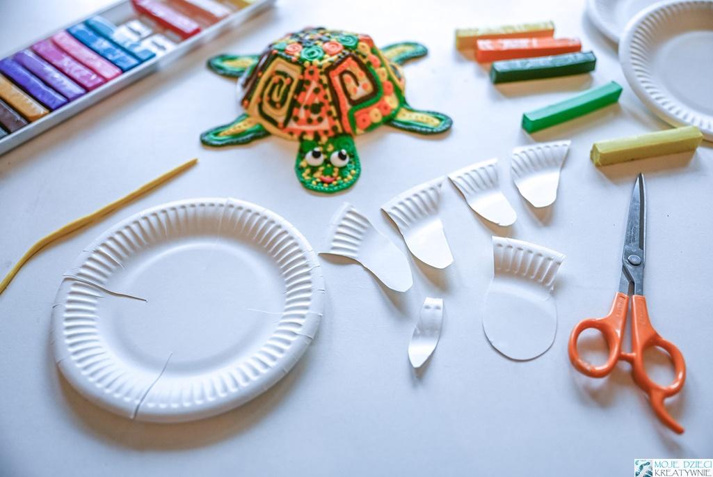 żółw z papieru, żółw z papierowego talerzyka, prace plastyczne z papierowego talerzyka