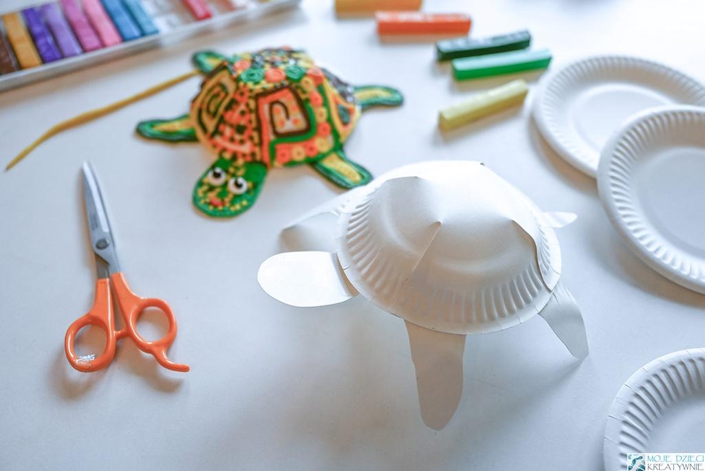 żółw z papierowego talerzyka, żółw z papieru, żółw praca plastyczna