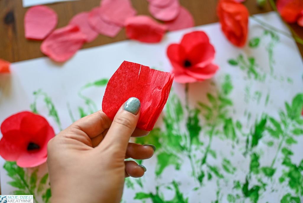 kwiaty z bibuły, kwiaty z krepiny, maki z krepiny, maki z bibuły