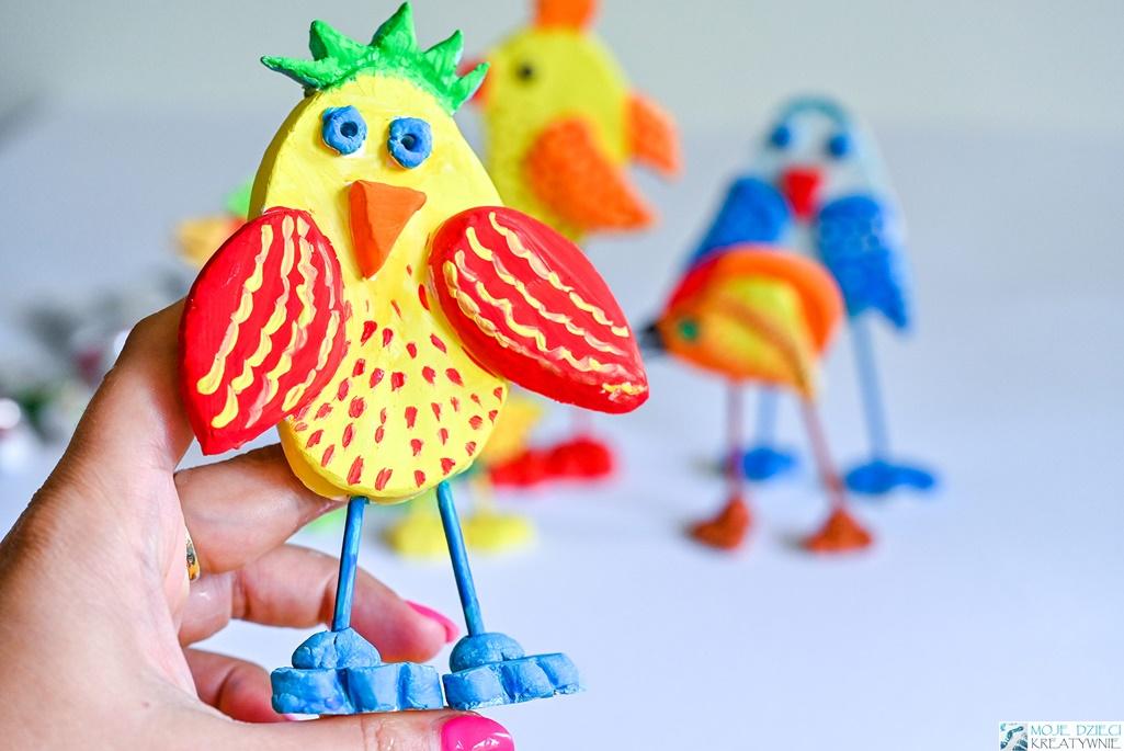 prace plastyczne dla dzieci, masa solna, glina samoutwardzalna, jak ulepić ptaka, moje dzieci kreatywnie, ewa wojtan, dziennik zabaw