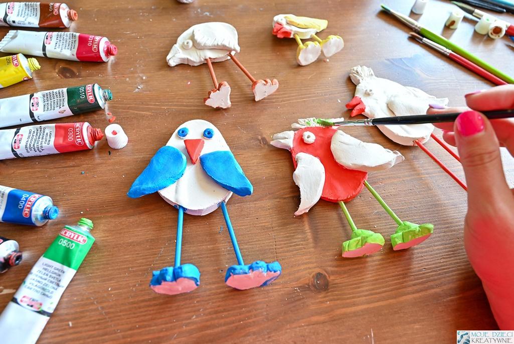 moje dzieci kreatywnie, prace plastyczne, ptaki z gliny
