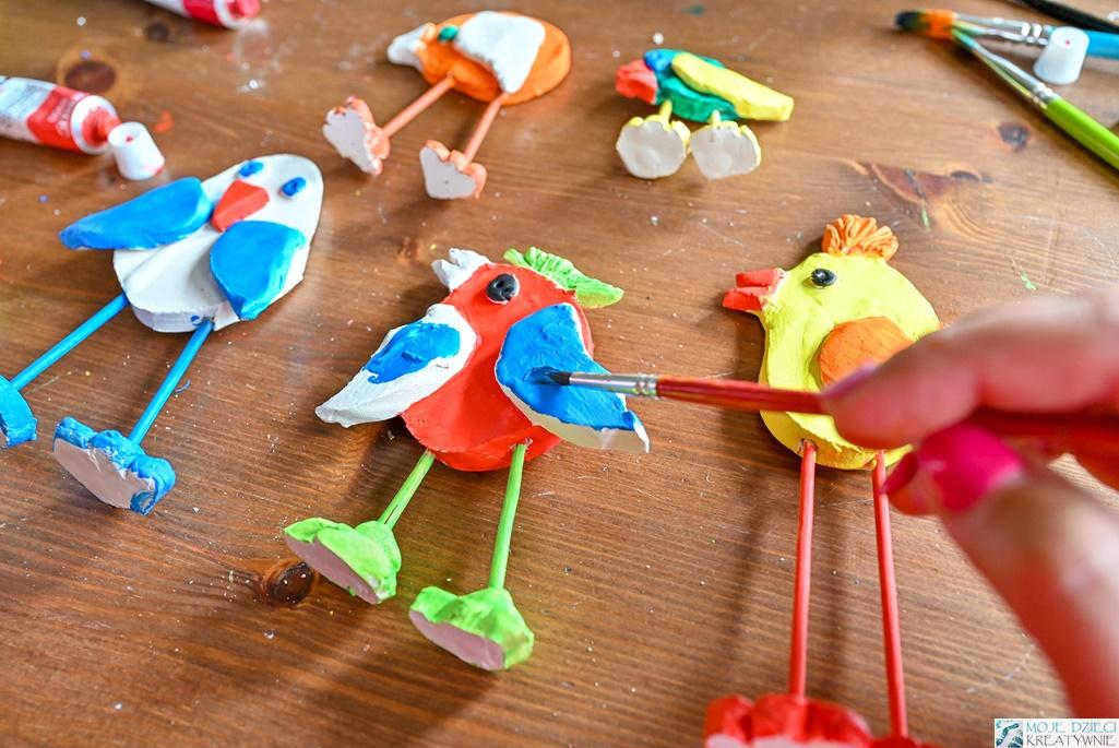 glina samoutwardzalna, masa solna, malowanie, moje dzieci kreatywnie, jak zrobić ptaki z gliny