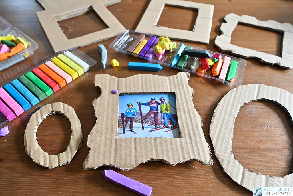 ramka z tektury, ciekawe pomysły na prace plastyczne, moje dzieci kreatywnie