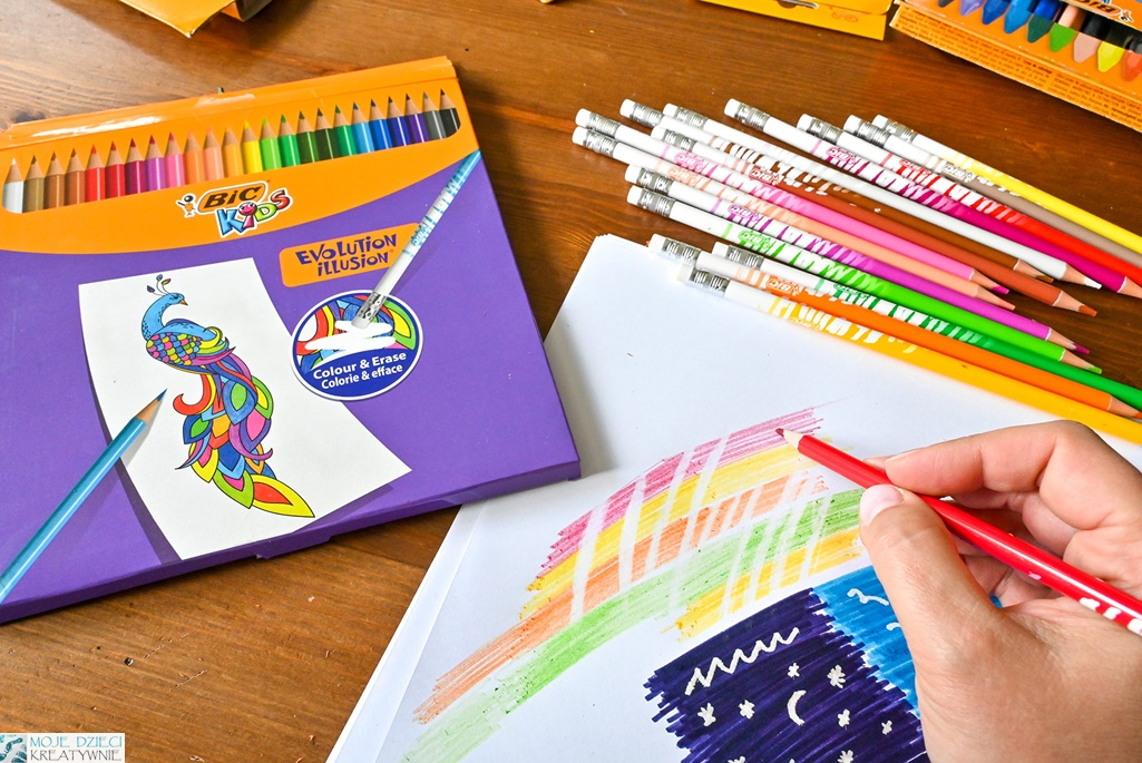 zmazywalne kredki, zmazywalne pisaki, magiczne pisaki, flamastry bic kids, bic kids evolution, moje dzieci kreatywnie