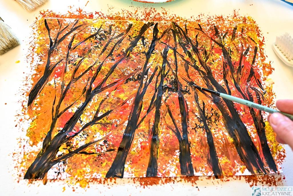 jesienny las praca plastyczna, prace plastyczne jesień, jesień pomysły na prace plastyczne, moje dzieci kreatywnie jesień.