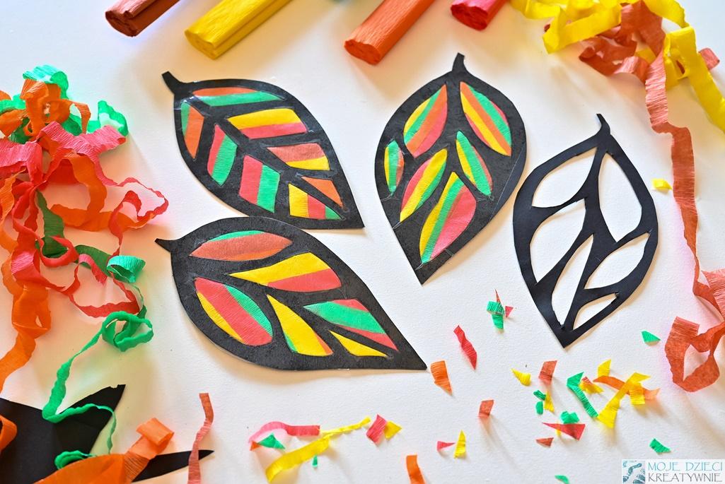 witrażowe liście z papieru, prace plastyczne jesień, moje dzieci kreatywnie jseiń, liście pomysły