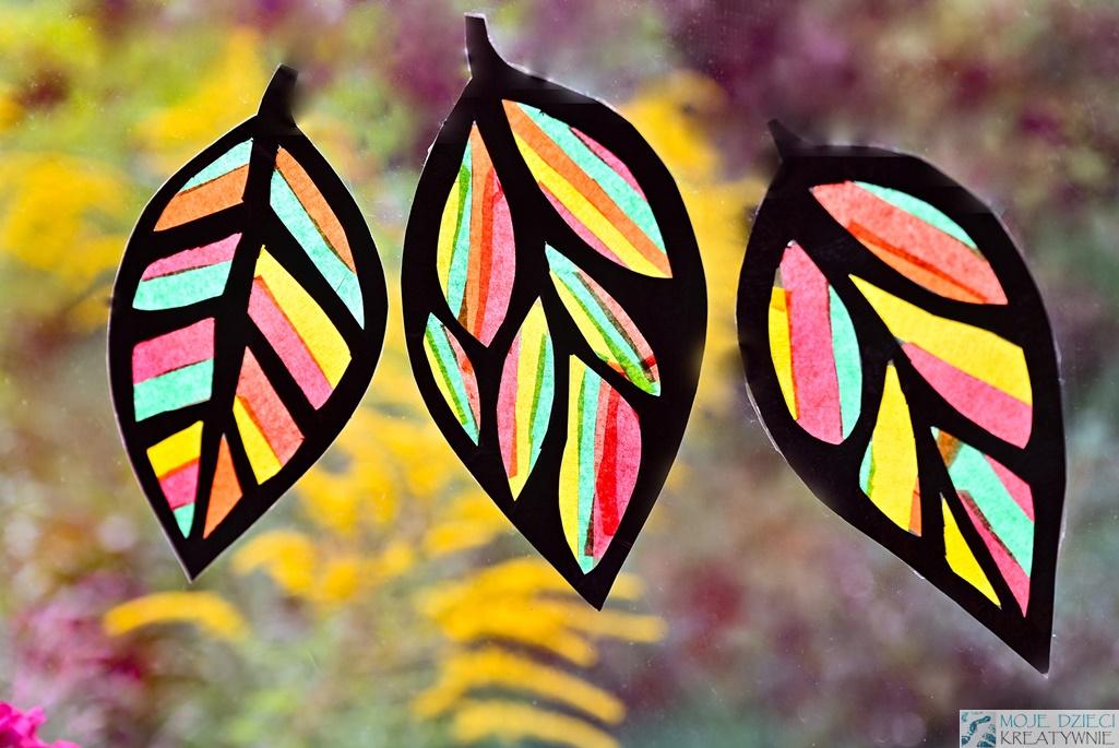witrażowe liście, jesienne prace plastyczne, moje dzieci kreatywnie jesień
